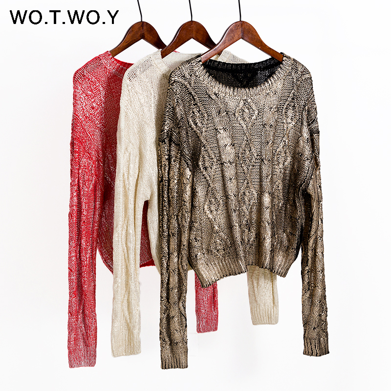 WOTWOY 2020 Autumn Winter Shiny Gold Stamp Criss-cross Knitted Women Sweaters Casual Soft O-Neck Long Sleeve Pullover Women