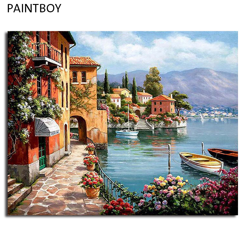 Framed DIY Painting By Numbers DIY Digital Canvas Oil Painting Home Decoration For Living Room Wall Art Seascape GX6917 40*50cm