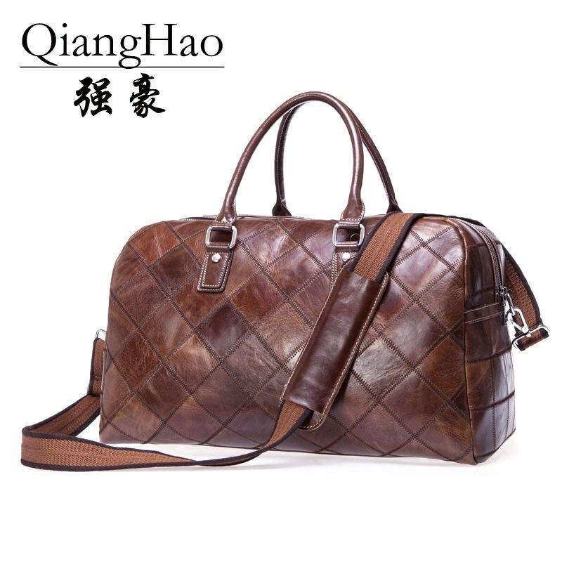 QiangHao brand Fashion Men 100 Genuine leather Travel Bags Men Weekend bag Backpacks Bags Travel Bag