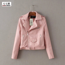 Red Leather Jacket Women Short Motorcycle Biker Jackets Veste Cuir Femme Pink Black Soft Coats Blouson Cuir Femme UV1063