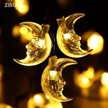 ZINUO Waterproof 4.8M 20LED Solar Christmas Light Vivid Moon Powered Fairy String For Outdoor Gardens New Year Party