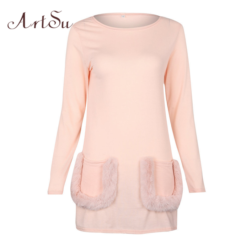 Women's Clothing Artsu Autumn Winter Pink Hoodie Kawaii Sudaderas Long Sweatshirt Harajuku Streetwear Faux Fur Pocket Long Sleeve Hoody Asho20149 Complete Range Of Articles