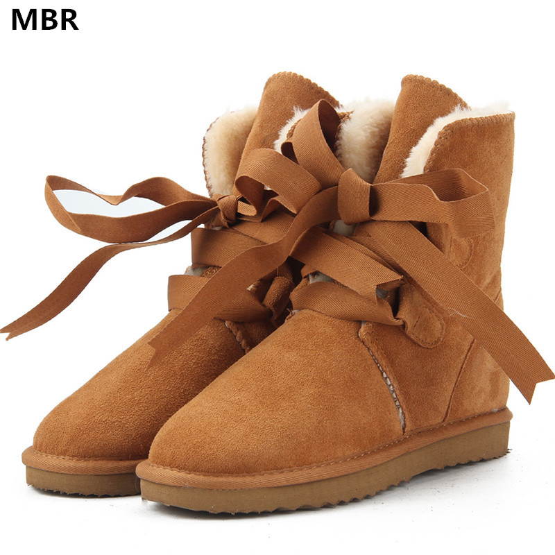 MBR New Top Quality Fashion Women Snow Boots Genuine Leather Winter Boots UG Warm Women Boots 12 Colour shoes US 3.5-13 goncale high quality band snow boots women fashion genuine leather women s winter boot with black red brown ug womens boots