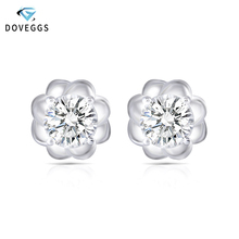 DovEggs Sterling 925 Platinum Plated Silver 1CTW 5mm H Color Moissanite Stone Stud Earrings for Women Party Push Back