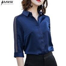 Moda kadınlar saten gömlek 2019 yaz yeni yarım kollu Casual gevşek bluzlar ofis bayanlar artı boyutu iş elbisesi Tops