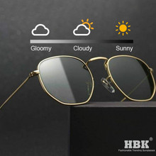 HBK Hexagon Discoloration Women Sunglasses Polarized Photochromic Polygon Sun Shades Men Night Vision Safety Driving Glasses