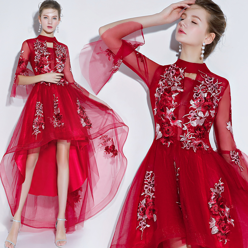 3D Embroidery   Cocktail     Dresses   short 2019 Graduation party   dress   Organza burgundy evening gown Occasion Party   Dresses   prom   dress