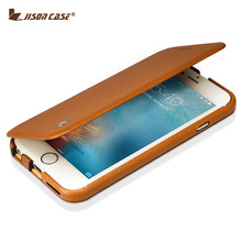 Jisoncase Flip Cover for iPhone 6 / 6s Case Genuine Leather Magnetic Slim Design for iPhone 6/ 6S 4.7 inch Kickstand Smart Cover
