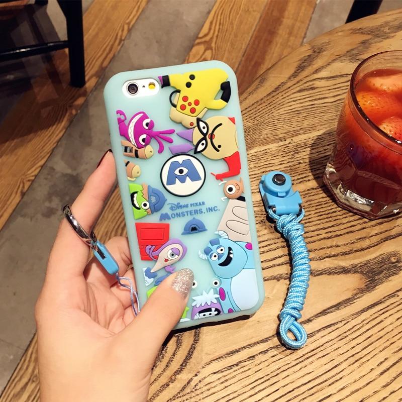 HTB1ps.SRFXXXXbnXpXXq6xXFXXXR - Ariana Grande Monster university Phone Case for iPhone7 7plus all-inclusive protective sleeve halter rope 6plus lovely soft silicone women PTC 219