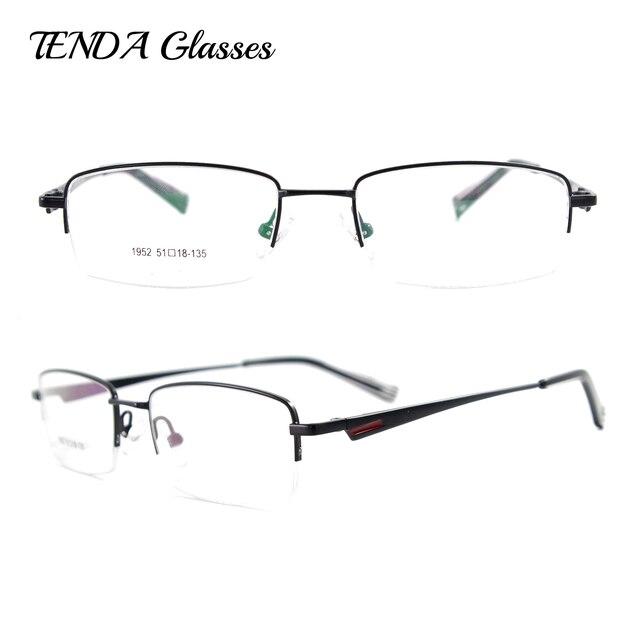 fb9bf8711c6 Metal Rectangle Spectacles Half Rim Prescription Eyeglasses Frame Mens Fashion  Glasses For Myopia Reading Lens