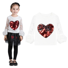 white tshirt for girls 2018 New Style 3-8Y Sequins Lace Long Sleeve Cotton kid blouse girl Toddler Children Clothes