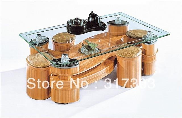Piede in acciaio inox, tè di vetro tavoli con cassetto, 4 sgabello ...