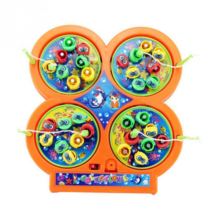 Творческие дети интеллектуальные вращения Электрический магнитного красочные пение Пластик головоломки Рыбалка пластина игрушки 19*17,5*3 см