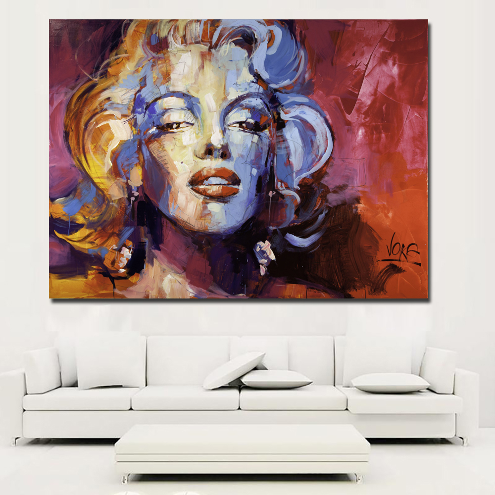 Abstract Painting Colorful Marilyn Monroe Vintage Portrait Canvas Wall Art Picture for Living Room Poster Cudros Decor