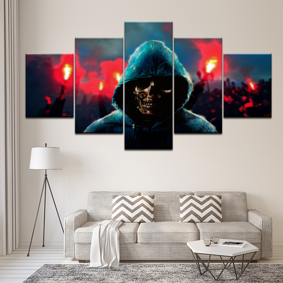 Skull Man Canvas Print Pictures Art Cuadros Decoraction Vintage Poster Retro 5Pcs Modern Wall Printed Pictures For Home Decor