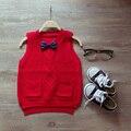 Blusas 2017 das Crianças Primavera e outono crianças colete camisola, meninos e meninas crianças bebê arco camisola blusas de Tricô