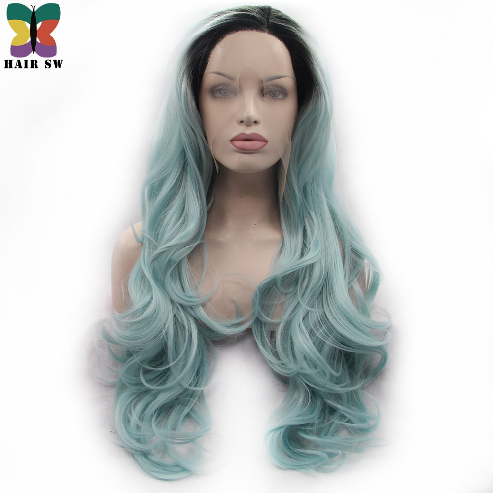 HAIR SW Long Wavy Pastel Green Ombre Synthetic Lace Front Wig With Dark Roots Middle Parting Lace Heat Resistant Fiber Women