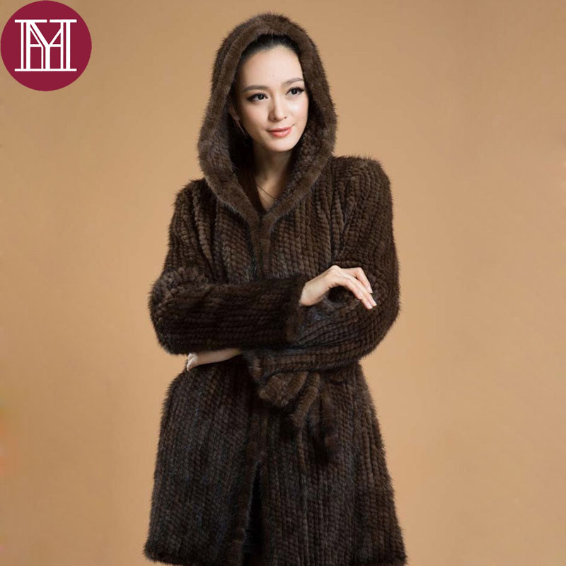 Elegant women winter knitted real mink fur jacket with hooded female 100% natural mink fur outerwear long style coat-in Real Fur from Women's Clothing    1