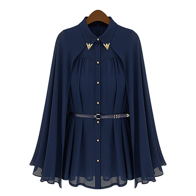 vestidos de fiesta Womens Chiffon Cloak Blouse Shirts Tops Elegant Navy Blue Beige Chiffon Cloak Sunscreen Tops Ladies Fashion