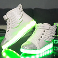 Children Led Shoes with Wings Summer High-top Flat Basket Led Kids Boy Luminous Glow Light Up with USB Charger Girl Boot Outdoor