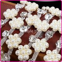1 Yard Shiny Rhinestone Imitation Pearl Costume Crystal chain Applique Trims