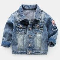 Джинсовая куртка, новинка 2017 стилей, осень и осень, одежда для детей, Корейская версия, с лацканами, дети, девочки, топы для малышей,