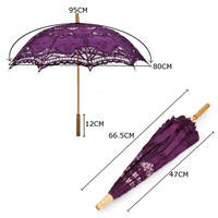 66 5CM Purple Lace Cotton Embroidery Wedding Sun Umbrella Parasol Photo Props Handmade Bridesmaid Decor Wedding
