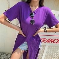Korean Style Long T Shirt Women 2019 Summer Letters Printed T Shirts Vogue Riverdale T shirt Plus Size T Shirts For Women