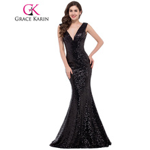 Grace Karin Mermaid Evening Dress 2017 Deep V Celebrity Vestidos Formal Golden Red Black Blue Sequins Special Occasion Dresses
