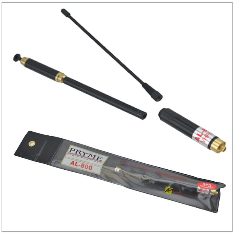 PRYME AL-800 AL 800 AL800 SMA-F SMA-Female Telescopic VHF/UHF Dual Band High Gain Extendable Antenna(SMA-Female Connector)