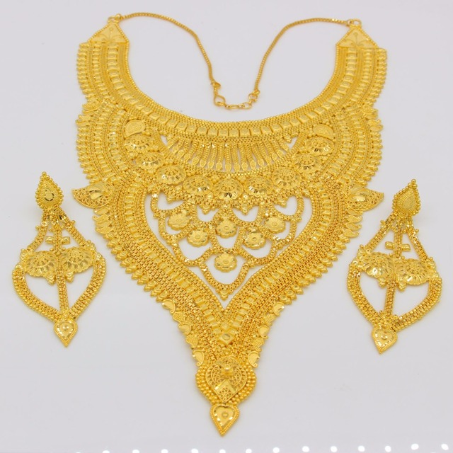NEW Dubai Necklace&Earrings Jewelry Set for Women Gold Color & Copper African/Arab/Middle East Wedding/Party Gifts