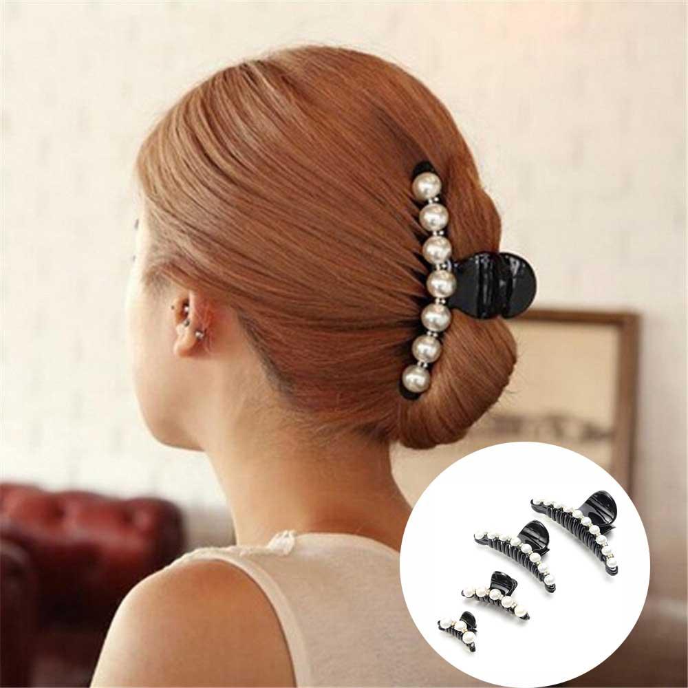 1 PC Pearls Hairpins Banana Clips Hair Accessories Ornaments   Headwear   Hair Clip Hair Claws For Women Girl