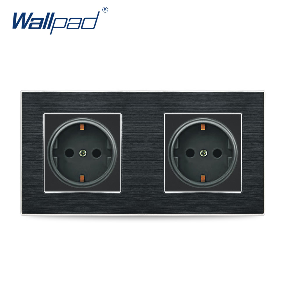 Double EU 2 Pin German Socket Wallpad Luxury Satin Metal Panel Double EU 16A Electric Wall Power Socket Electrical Outlets 2018 hot sale 6 pin multifunction socket wallpad luxury wall switch panel plug socket 118 72mm 10a 110 250v