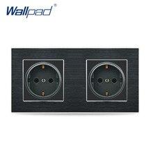 Dubbele Eu 2 Pin Duitse Socket Wallpad Luxe Satijn Metalen Paneel Dubbele Eu 16A Elektrische Stopcontact Stopcontacten