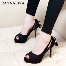 Nice Fashion Vintage Elegant Peep Toe Women Pumps New High Heels Shoes Woman Spring Autumn Black Office CH-A0029