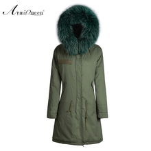 Mr fashion parka real fox fur Mrs fur jacket unisex colorful collar green coat