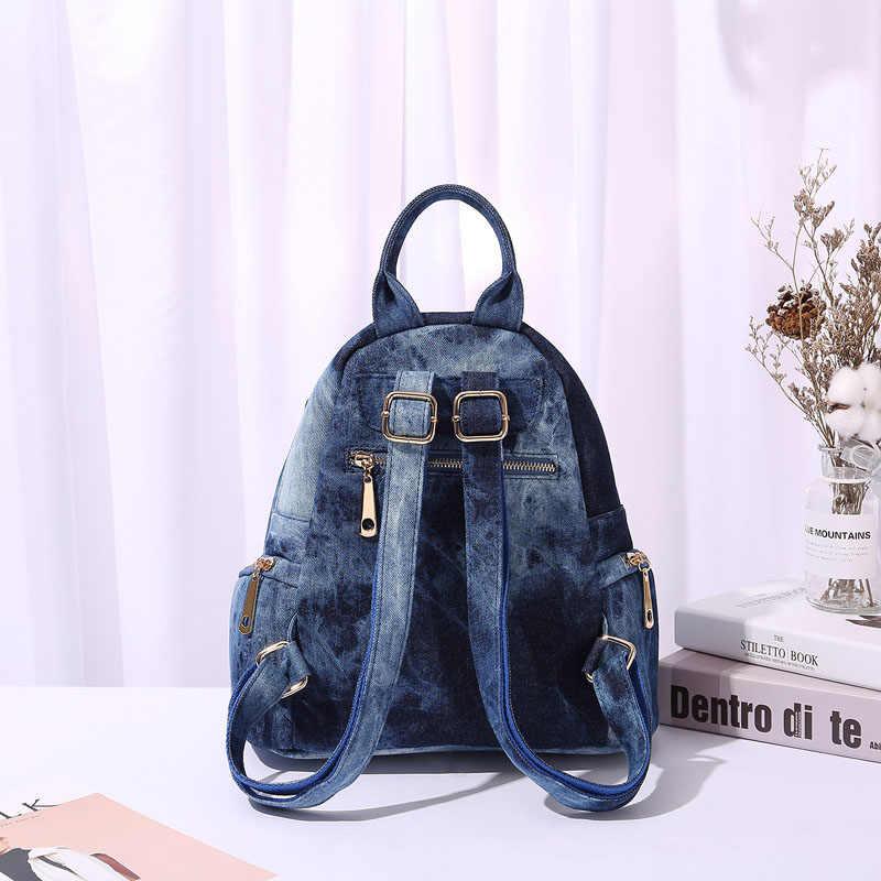 IPinee женские повседневные Рюкзаки джинсовая сумка бабочка вышивка средняя Femme школьная сумка Mochila plecak szkolny