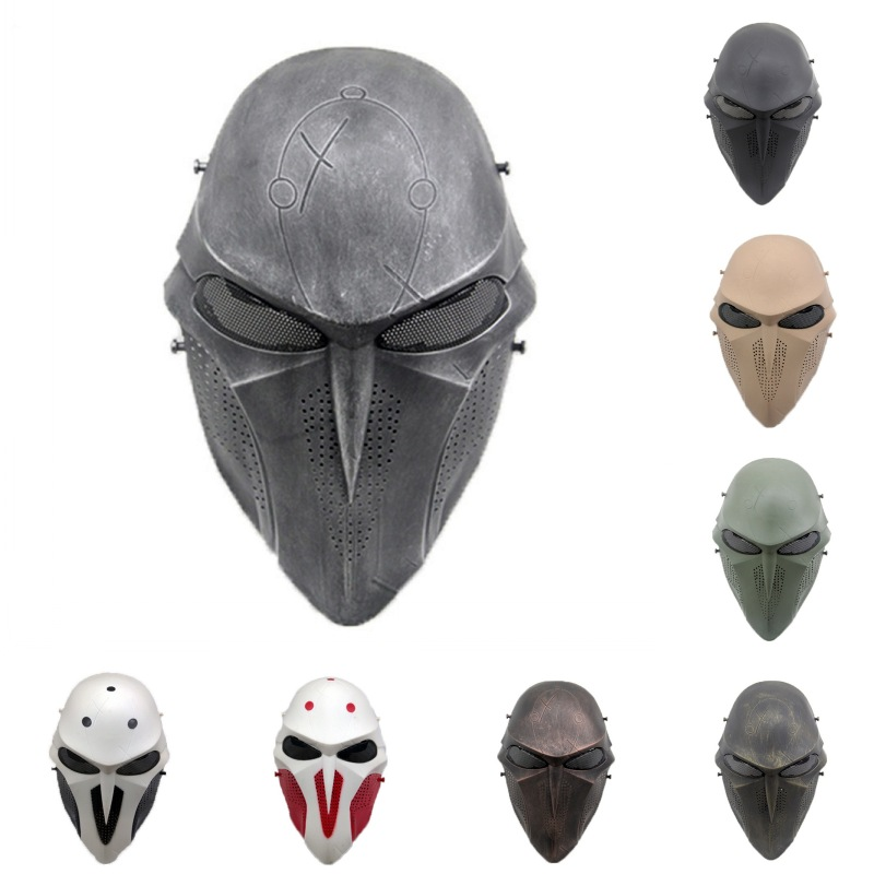 ZJZ10 Death Scary Military Tactical Full Face Mask CS Wargame Halloween Cosplay Party Paintball Airsoft Skull Protective Mask