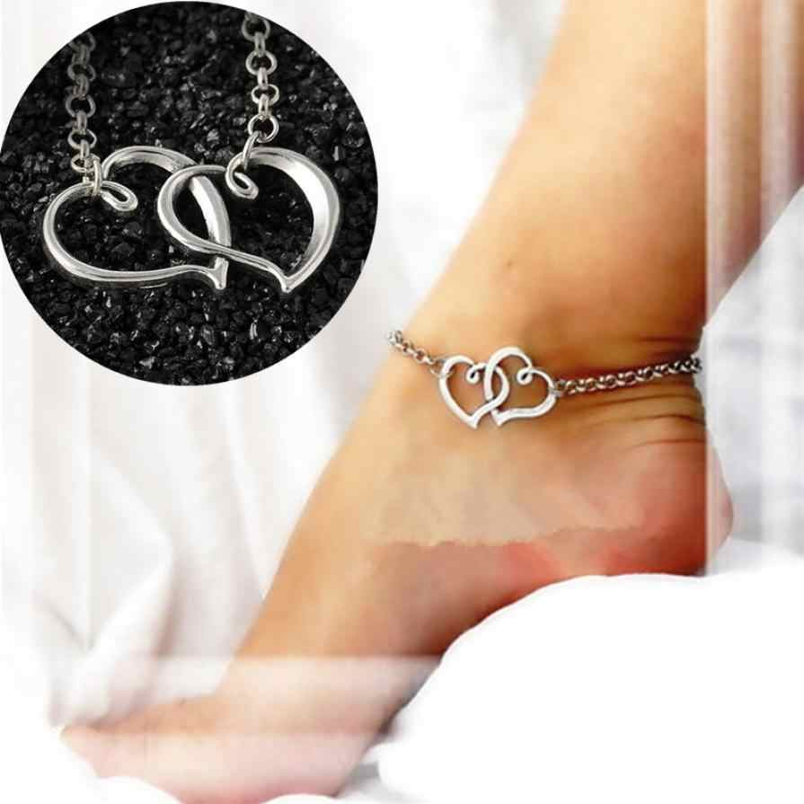 2017 New Arrival Double Heart Anklets Simple Silver Chain Anklet Bracelet on Leg Fashion Beach Anklets for Women Foot Jewelry #5