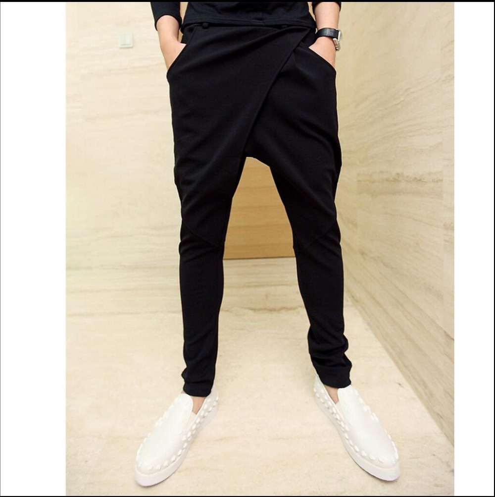 27-44 Boys Harem Pants Men's Casual Black Big Crotch Pants Fashion Personality Hiphop Elasticity Skinny Pants Singer Costumes