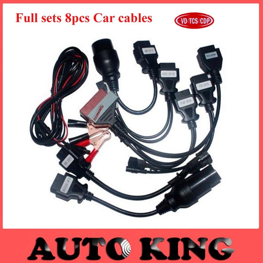 Prix pour Livraison gratuite ensembles complets 8 pièces câbles de voiture pour VD TCS CDP PRO wow snooper/multidiag pro + mvdiag obd2 diagnostic outil