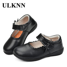 ULKNN Mary Jane Flats Girl Shoes For Children Casual Shoes Kids Baby Genuine Leather Lace Butterfly Party Dress Black White Pink creativesugar see through lace mary jane vintage style med low heels bridal wedding party prom black white ivory pink shoes
