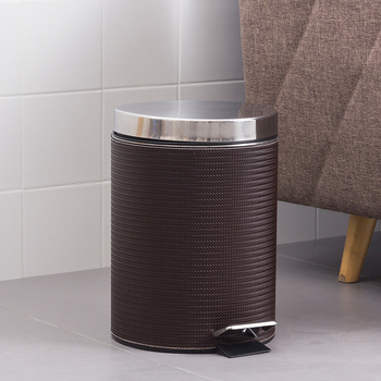 Round trash can foot pedal stainless steel home bedroom bathroom fashion with cover large paper basket 8L wx10191652