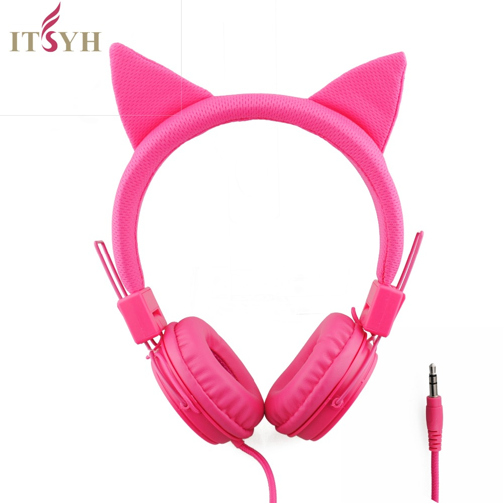 Portable Universal 3.5mm Music Headset HIFI Headphone Pink Fabric cute 1.2M wired game headsets Student study Headphone TW-821