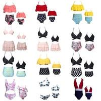 2018 Family Matching Swimwear Mother Daughter Women Beach Kid Bikini Bahitng Swimsuit Brachwear Mother Girl Swimming