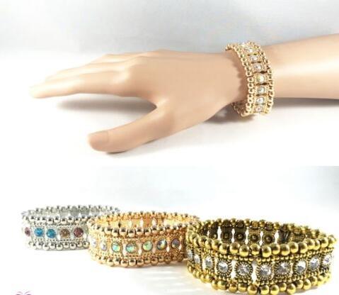 ab1cbcaea8b Gold Silver Crystal Stretched Elastic Strand Wrist Bangles Wristband Cuff  Bracelet Bangle Women Wedding Party Jewelry Gift B376