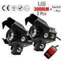 2 PCS Motocicleta Farol U8 Cree chip LED DRL Fog light 12-80 V 125 w moto carro holofotes condução spot lâmpada de cabeça para honda bmw