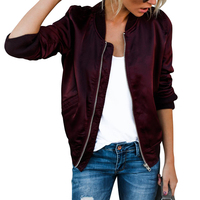 Spring Autumn Women Thin Jackets Tops Basic Bomber Jacket Long Sleeve Zipper Motorcycle Biker Coat Casual
