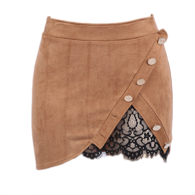 New fashion Women Ladies High Waist Pencil Skirts button lace patchwork sexy Bodycon Suede Leather split party casual Mini Skirt 37