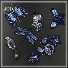 JOD Embroidery Beaded Patches for Clothing Sewing on Clothes Patch Applique Accessories Bird Flower Butterfly 3D 2018 Navy Badge